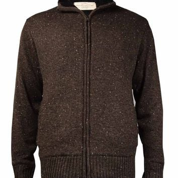 Weatherproof Men's Vintage Zip-Front Sweater Jacket (Expresso Tweed, L)