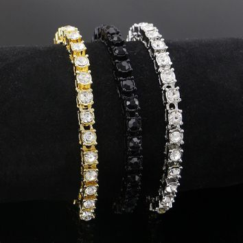 Hip hop Bling Iced Out Cubic Zirconia Bracelet Tennis Chain Bracelets Women Men 1 Row CZ Link Chain Jewelry Gold Silver Black