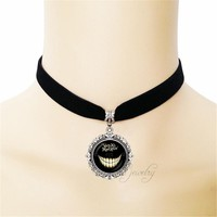 2017 Alice in Wonderland Black Ribbon Short Necklace We're All Mad Here Pendant Cheshire Cat Face Choker Necklaces Jewelry