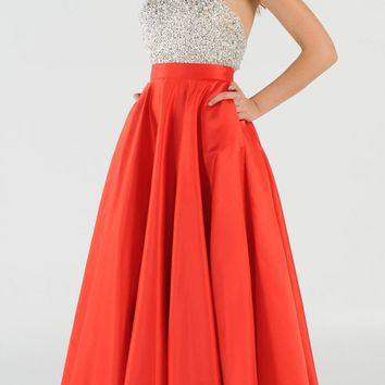 Red Halter Beaded Open Back Long Prom Dress with Pockets