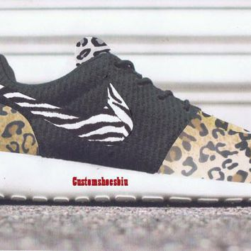 Custom Wolf Gray Cheetah Zebra Brown Cheetan Nike Roshes