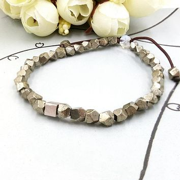 Natural Pyrite with Sterling Silver Cube Charm Bracelet