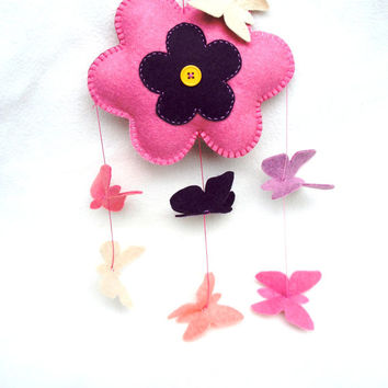 Felt Baby Mobile, butterfly, flower, pink, Wall Hanging, Window Hanging, nursery, Hanging Baby Mobile, Baby Girl Mobile, Nursery Crib