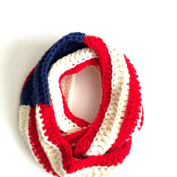Striped Cream, Red, Blue Infinity Scarf, Eternity Scarf, Teen, Women Scarf