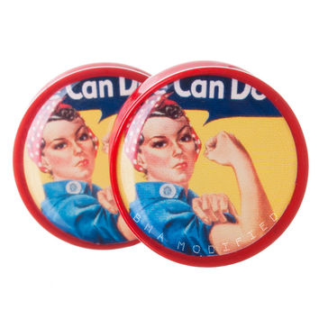 Rosie the Riveter Vintage Propaganda Poster BMA Plugs (2mm-38mm)