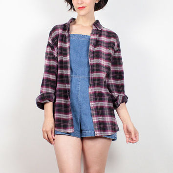 Vintage 90s Grunge Flannel Shirt Pink Purple Black Plaid Flannel Overshirt 1990s Soft Grunge Seattle Worn Flannel Blouse M Medium L Large