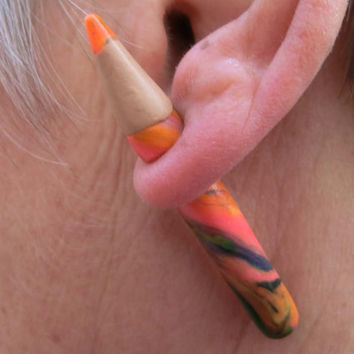 Pair of fake gauge multicoloured pencils, polymere clay two parts earrings different colors