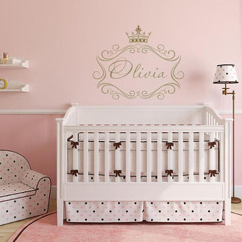 Princess Name Wall Decal - Princess Crown Wall Decal Personalized Name, Princess Crown Nursery Wall Decal, Custom Princess Wall Decal K50