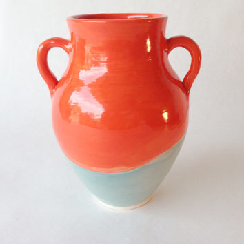 Orange and Teal Vase