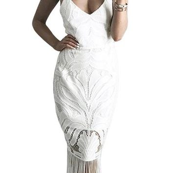 Fashion Tassel Backless White Lace Party Dresses