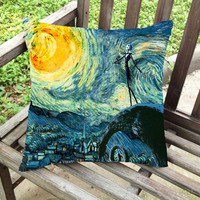 jack skellington nightmare before christmas meets starry night pillow case custom zippered pillow case one side and two sides