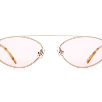 Crap Eyewear - Proto Riddim Brushed Gold + Blonde Tortoise Sunglasses / Pink Tint Lenses