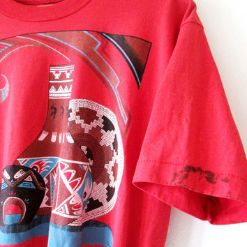 Wms Vintage 1990s Aztec Navajo Pottery Print Fitted Tee Crop Top Sz M