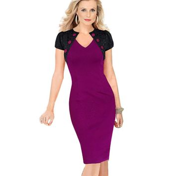 Summer Women Fashion Patchwork Button Elegant Short  Lace Sleeve Dresses Casual  Business Wear to Work Bodycon Pencil Dress G798