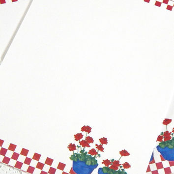 Vintage Stationery. Letter Writing Paper. Flower Stationery. Blank Stationery. Journal Paper. Stationery Set. Diary Paper. Red Geranium.