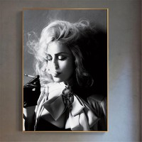 Modern Poster Black and White Sexy Charming Woman Smoking Canvas Painting for Living Room Pub Bar Home Decor Wall Art Pictures