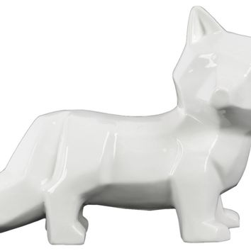 Ceramic Gloss Finish White Standing Fox Figurine