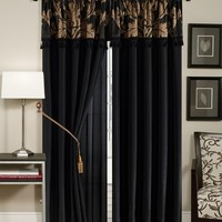 Chezmoi Collection Royale 4-Piece Jacquard Floral Window Curtain/Drape Set Sheer Backing Tassels Valance, Black/Gold