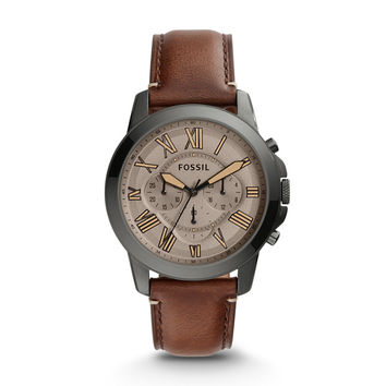 Grant Chronograph Dark Brown Leather Watch - $135.00