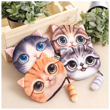 2016 New Small Tail Cat Coin Purse Cute Kids Cartoon Wallet Kawaii Bag Coin Pouch Children Purse Holder Women Coin Wallet