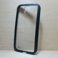 Silicone Bumper and Clear Hard Plastic Back Case for Samsung Galaxy S4 - Black