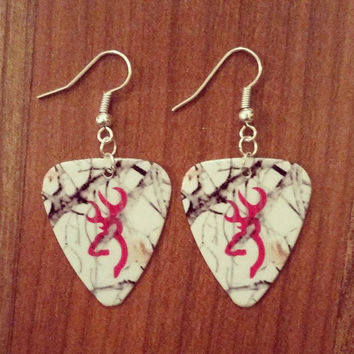 White Snow Mossy Oak Camo Camouflage guitar pick earrings with hot pink deer buck country his doe southern style jewelry gift for her