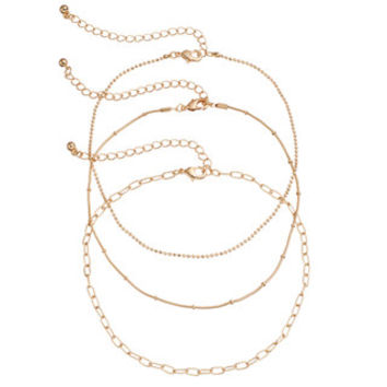 Mudd® Oval Link, Ball Chain & Snake Chain Choker Necklace Set | null