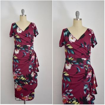 Vintage Inspired 1950s Alfresco Floret Maroon Wrap Effect Dress