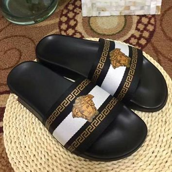 White Versace Woman Men Fashion Medusa Slipper Sandals Shoes