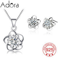 Fashion 3Pcs 925 Sterling Silver Jewelry Set Natural Flower Clarity Crystal Pattern Necklace/Stud Earrings Valentine's Gifts