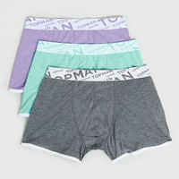 Charcoal/ Lilac/ Jade Marl 3 Pack Trunks - Topman