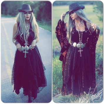 Black velvet maxi dress, Stevie Nicks black lace maxi dress , Black sundress, True Rebel Clothing