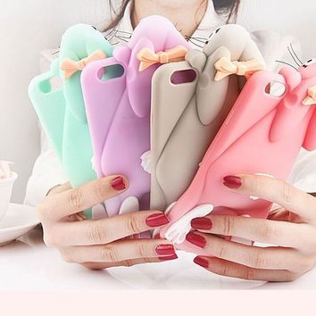 "Cartoon 3D Soft Cute Silicone Rabbit Bunny Case For iPhone 7 5 5S SE 4 4S 6 6S 7 Plus 4.7"" 5.5"" Lovely Rabito Phone Back Cover -0329"