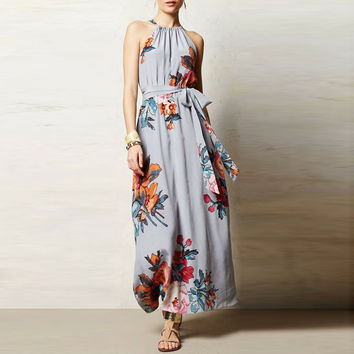 Newest Arrival 2017 Summer Dresses Beach Loose Flower Printing Sleeveless Sashes Tank Ankle-Length Elegant Halter Women Dresses