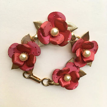 Vintage 1960's - Pink Metal Flower Bracelet - Gold Tone - Vintage Bracelet - Simulated Pearls - Mother's Day - Birthday - Gift Idea
