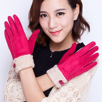 Newly Design Women Suede Leather Chamois Gloves Patchwork Winter Women Gloves Elegant Warm Soft Female Lady Driving Gloves A5256