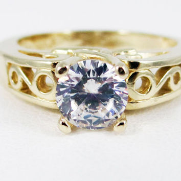 White CZ 14k Yellow Gold Round Filigree Ring, White CZ Solitaire Ring, Gold Engagement Ring, 14k Yellow Gold Ring, April Birthstone Ring