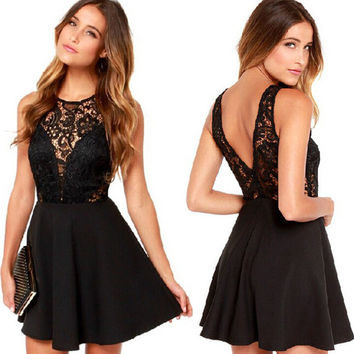 V-Back Lace Patchwork Flounce Mini Dress