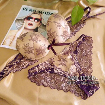 Women Bra Set 2015 Hot Sell High Quality Sexy Push Up Bra Satin Luxury Lace Flower Charming Underwear Brief Lingerie Plus size