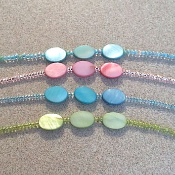 Colorful Oval Shell Disc Bead & Glass Seed Bead Ankle Bracelet, Tropical MOP Shell Bead Anklet, Boho Trending Anklets w/Seed Beads Plus Size