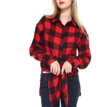 Women's Big plaid long sleeve button down shirt classic fit with front tie and side slits