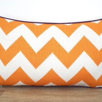 One chevron lumbar pillow cover 20x12, orange and cream sofa pillow case, orange and purple cushion large chevron print, linen pillow