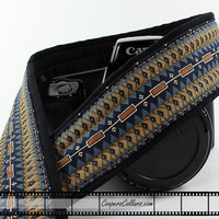 Camera Strap, Tribal, dSLR or SLR, Southwestern, Brown, Blue, Tan, 47