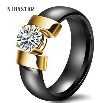 White Black Ceramic Rings Plus Cubic Zirconia For Women Gold Color Stainless Steel Women Wedding Ring Engagement Jewelry