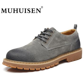 MUHUISEN Fashion Men Casual Shoes Autumn Lace-Up Suede Male Oxfords Genuine Leather Shoes Waterproof Non-Slip Flats Homme