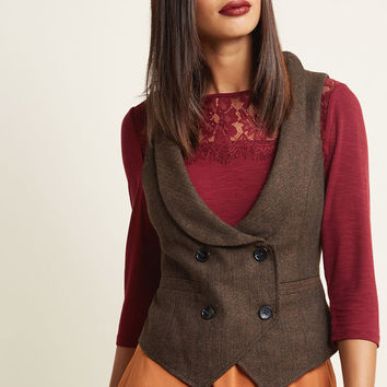 Double-Breasted Herringbone Vest