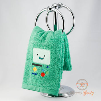 """Adventure Time """"BMO"""" Inspired - Embroidered Hand Towel"""