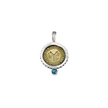 March NYC Authentic Subway Token Blue Topaz Sterling Silver Charm Necklace