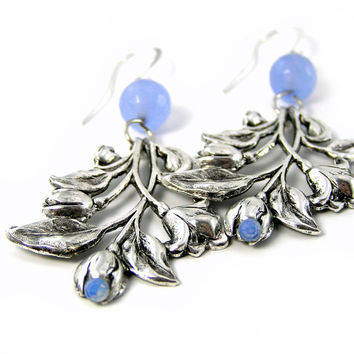 Blue Flower Earrings, Chandelier Earrings, Silver Earrings, Aquamarine, Lily Earrings, Wedding Jewelry, Bridesmaids Gifts, Pastel Earrings
