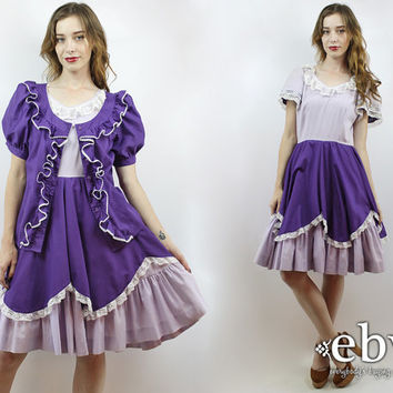 Square Dance Dress Lavender Dress Purple Dress Puff Sleeve Dress Vintage 80s Dress S M Dolly Dress Ruffle Dress Ruffled Dress Babydoll Dress